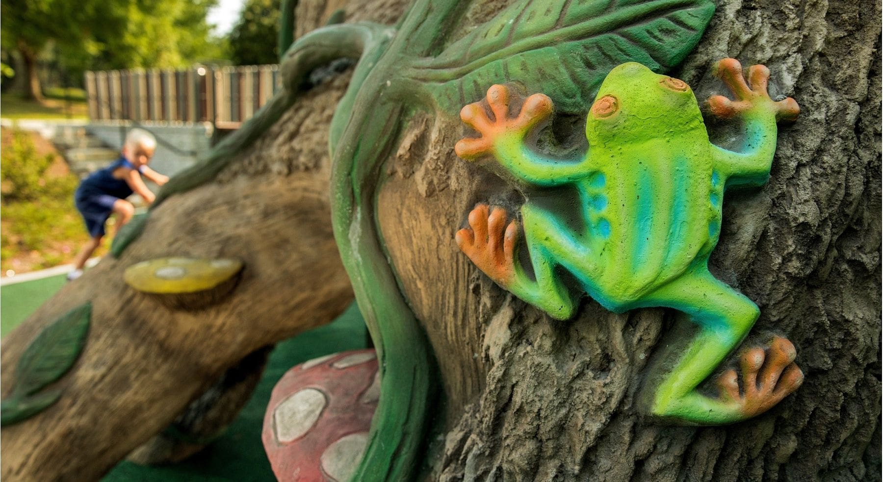 frog on tree as part of themed playground