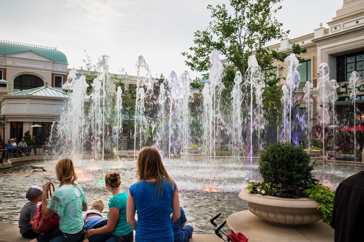 Water fountain in city square
