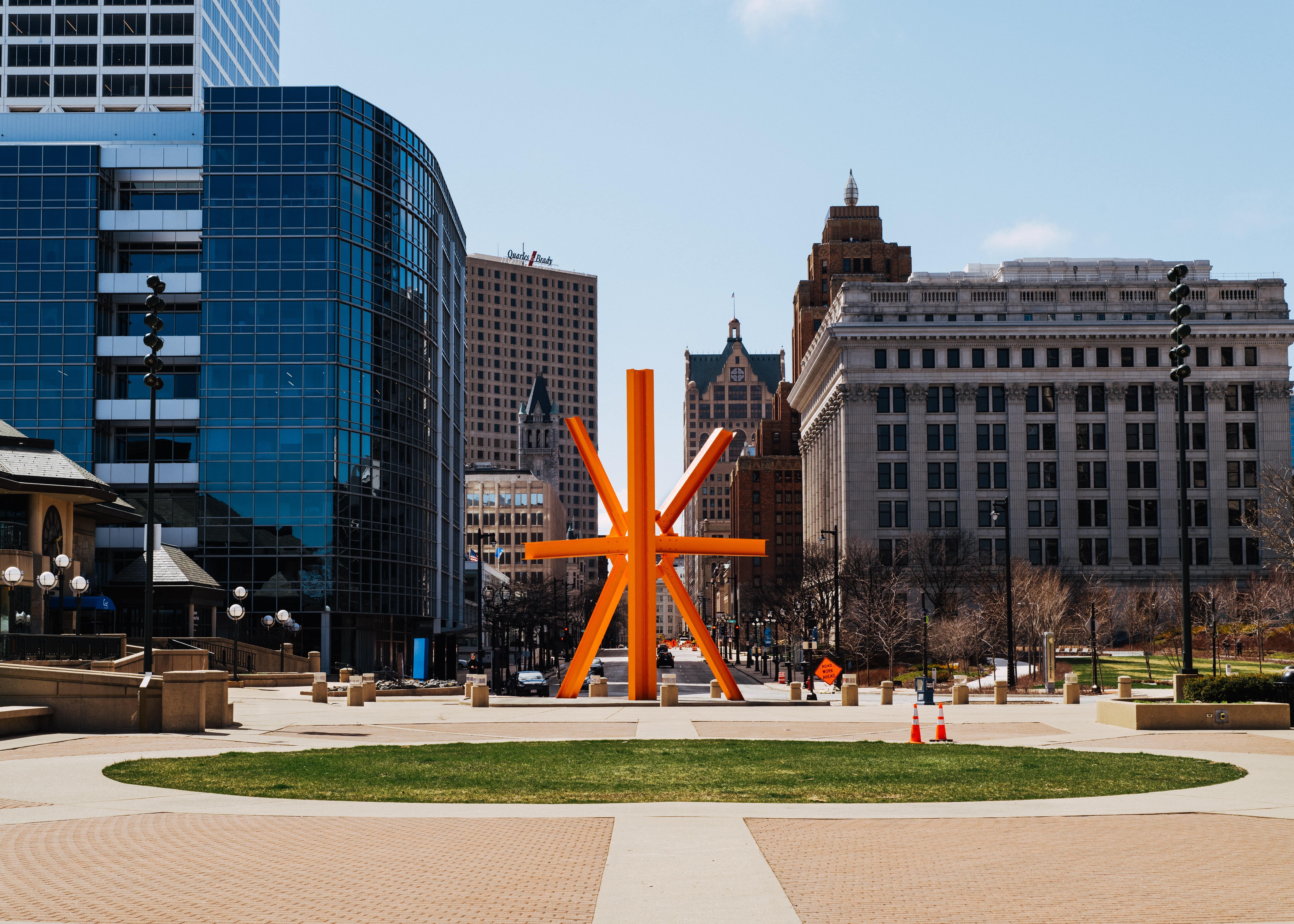Modern public art structure downtown